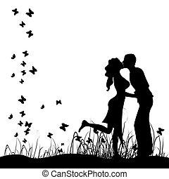 h hang, kaszáló, megcsókol, párosít, fekete