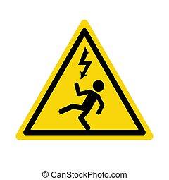 haard, icon., magas, jelkép, elektromos, figyelmeztetés, alert., feszültség, veszély, rázkódás