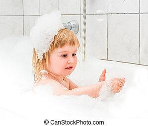 hab, csecsemő, öreg, csinos, két, fürdőkád, év, fürdik