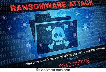 hacker, malware, mindenfelé, ransomware, támad, háttér, világ