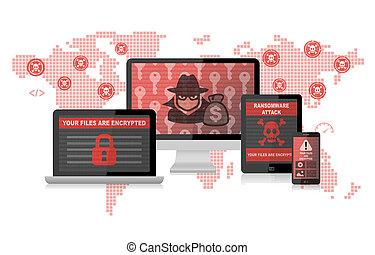 hacker, malware, mindenfelé, ransomware, támad, infographic, világ