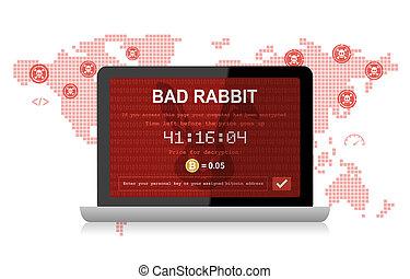 hacker, malware, mindenfelé, ransomware, támad, rossz, üregi nyúl, világ