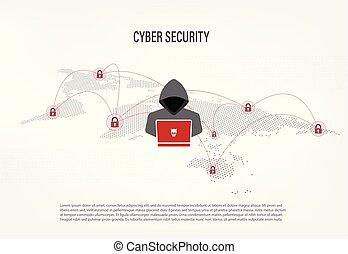 hacker, térkép, világ, háttér, digitális