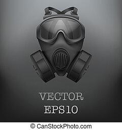 hadi, vektor, black háttér, gasmask