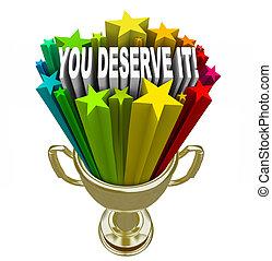 hadizsákmány, arany, deserve, azt, ön, ellenszolgáltatás, elismerés