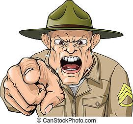 hadsereg, mérges, kiabálás, őrmester, fúr, karikatúra