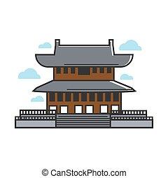 hagyományos, ázsiai, halánték