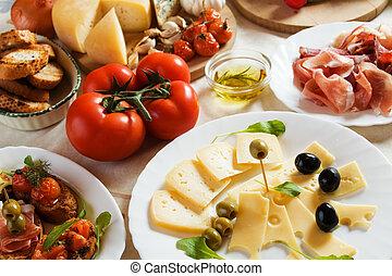 hagyományos, élelmiszer, antipasto, olasz, előétel
