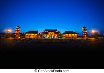 hagyományos, épület, kínai