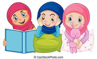 hagyományos, ülés, elszigetelt, muzulmán, háttér, arab, öltözet, alvás, gyerekek, fehér