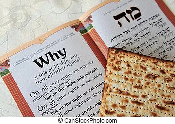 hagyományos, azt, szabad, matzo, jámbor, predominantly, asztal., ősi, israelites, commemorates, zsidó húsvét, ív, sztori, nap, zsidó, festival., kivonulás, seder