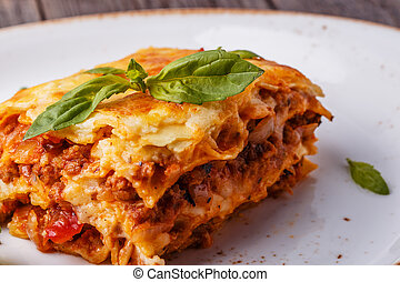 hagyományos, bolognese ízesítő, lasagna, elkészített, izomerő, minced
