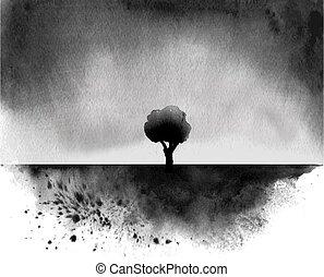 hagyományos, fa, tinta, lemos, field., japán, sumi-e., eső, alatt, festmény, fekete