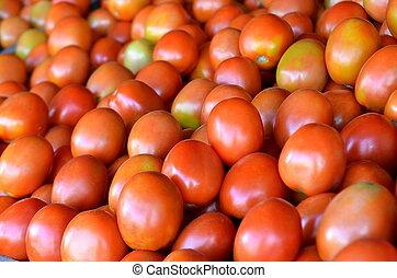 hagyományos, gyümölcs, paradicsom, friss, piac