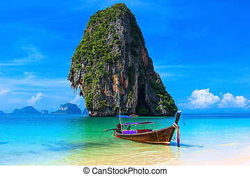 hagyományos, háttér, tengerpart, táj, színpadi, thaiföld, víz, csónakázik, farok, sziget, nyár, tropikus, hosszú, égszínkék, kő