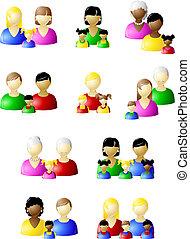 hagyományos, ikon, állhatatos, nem, család