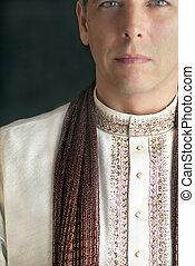 hagyományos, indiai, öltözet, ember