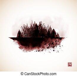 hagyományos, ködös, tinta, lemos, szüret, hieroglifa, -, vad, erdő, style.., zen, keleti, u-sin, festmény, go-hua., sumi-e