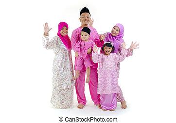 hagyományos, maláj, közben, occaion, hari, család, raya