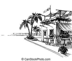 hagyományos, skicc, tengerpart, tenger, étterem