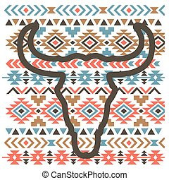 hagyományos, tehén, árnykép, grafikus, ábra, díszítés, vektor, head., nyomtat, aztec, koponya, művészet, fekete, szüret
