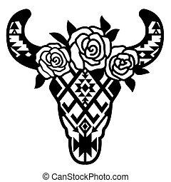 hagyományos, tehén, menstruáció, grafikus, ábra, díszítés, vektor, head., nyomtat, aztec, koponya, művészet, fekete, elszigetelt