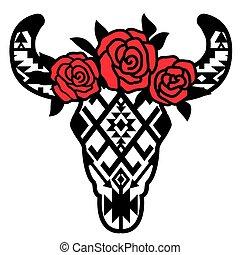 hagyományos, tehén, menstruáció, grafikus, ábra, díszítés, vektor, head., nyomtat, aztec, koponya, művészet, fekete, elszigetelt, piros