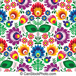 hagyományos, virágos, seamless, motívum