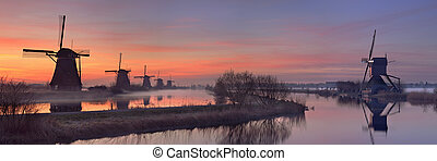 hagyományos, windmills, németalföld, kinderdijk, napkelte