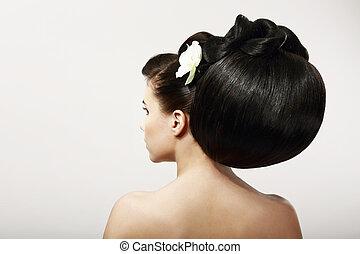 haircare., mód, hairstyle., flower., fenék, sima, fogadószoba, kreatív, haj, egészséges, fekete, ásványvízforrás, formál
