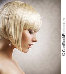 haircut., frizura, leány, hair., egészséges, szőke, rövid, gyönyörű