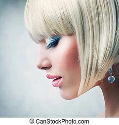 haircut., leány, haj, egészséges, szőke, rövid, gyönyörű