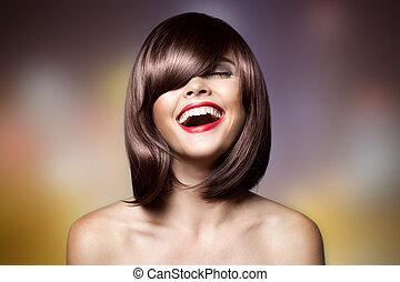 haircut., nő, hair., barna, mosolygós, rövid, hairstyl, gyönyörű