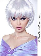haircut., rövid, hairstyle., szépség, elegáns, mód, fringe., elszigetelt, háttér., nő, hair., portré, fehér, mód, népszerűség