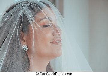 hairstyle., hotel, feltevő, fogalom, nagyszerű, alkat, ajkak, kifulladt, menyasszony, eyes., reggel, fényűzés, sea., terasz, rendeltetési hely, látszó, bride., kifejező, barna nő, esküvő