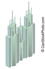 hajítás, isometric, épület