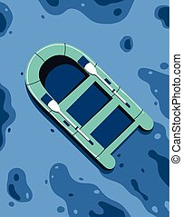 hajó, ábra, úszó, óceán, vektor