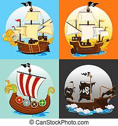 hajó, állhatatos, kalóz, gyűjtés