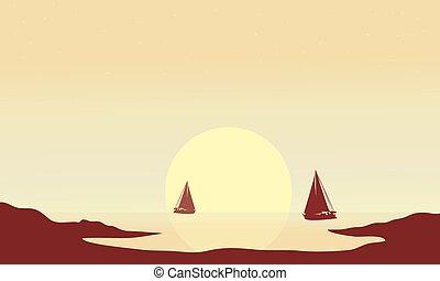 hajó, árnykép, délután