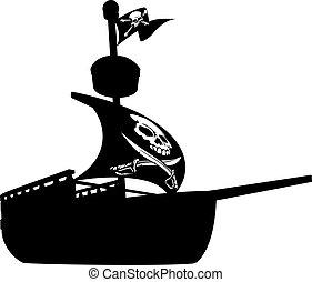 hajó, árnykép, kalóz