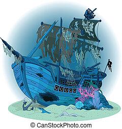 hajó, öreg, háttér