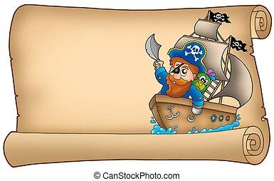 hajó, öreg, kalóz, vitorlázás, pergament