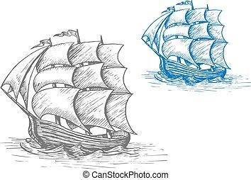 hajó, öreg, viharos, vitorlázás, lenget