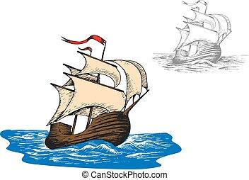 hajó, ősi, vitorlázik, lenget, óceán