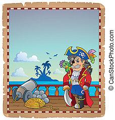hajó, 2, pergament, kalóz, fedélzet