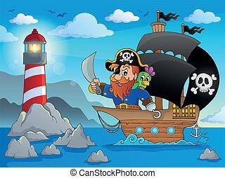 hajó, 2, téma, kép, kalóz