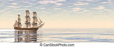 hajó, 3, öreg, render, -, kereskedelmi