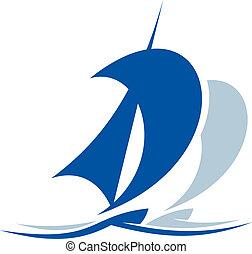 hajó, az eredményeképpen, vitorlázás, lenget