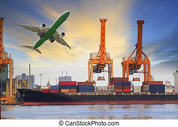 hajó, berakodás, konténer, rév