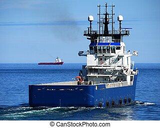 hajó, beszerzés, part felől, komoly